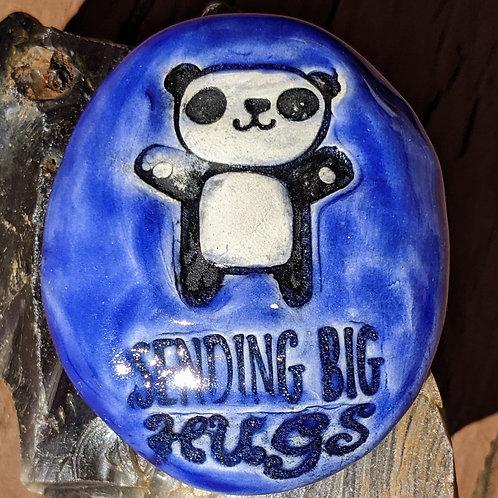 SENDING BIG HUGS w/ PANDA BEAR Pocket Stone - Midnight Blue