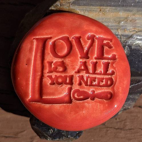 LOVE IS ALL YOU NEED Pocket Stone - Scarlet Red