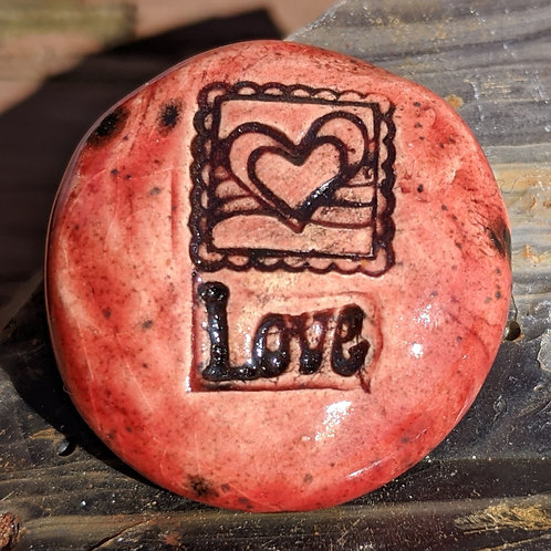 LOVE w/ HEART STAMP Pocket Stone - Strawberry Red
