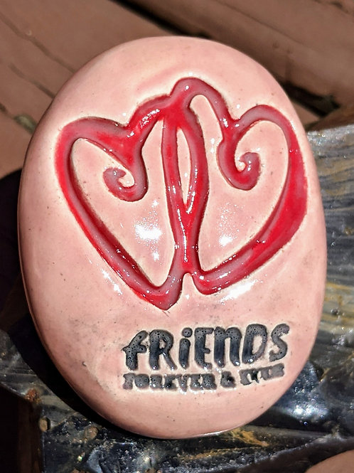 ENTWINED HEARTS w/ FRIENDS FOREVER & EVER Pocket Stone - Petal Pink