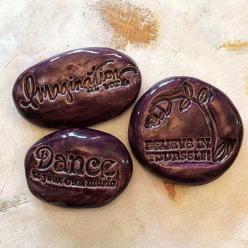 LIFE QUOTES Pocket Stones - Purple