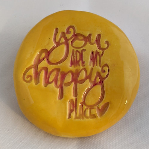 YOU ARE MY HAPPY PLACE Pocket Stone - Sun Yellow