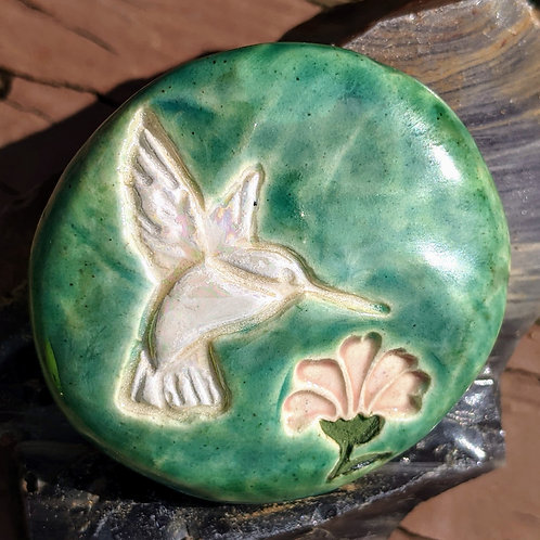 HUMMINGBIRD - I AM PRESENT Pocket Stone - Hand-Painted