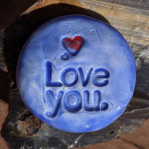 LOVE YOU w/ HEART Pocket Stone - Sapphire Blue