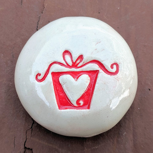 PRESENT / GIFT w/HEART Pocket Stone - Red