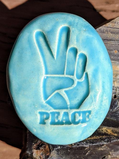 PEACE HAND Pocket Stone - Aquamarine