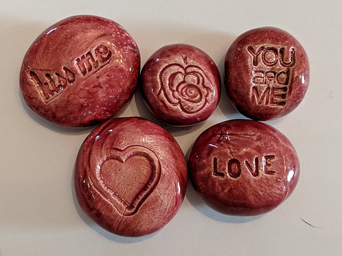 WEDDING / ANNIVERSARY Pocket Stones - Heart - Love - Kiss Me - Rose - You and Me