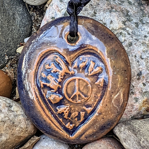 PEACE HEART Necklace - Blue