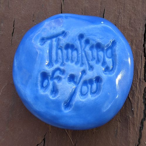 THINKING OF YOU Pocket Stone - Medium Blue