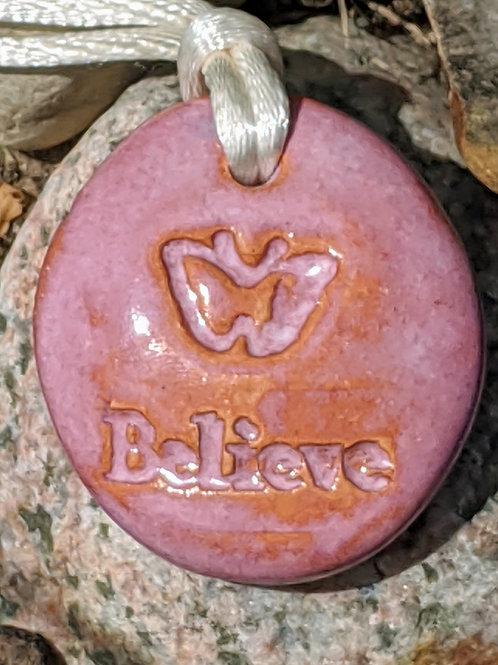 BELIEVE BUTTERFLY Necklace - Fuchsia Pink
