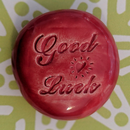 GOOD LUCK Pocket Stone - Raspberry Red