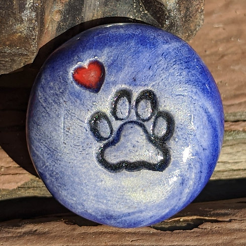 PAW PRINT w/HEART Pocket Stone - Vivid Blue