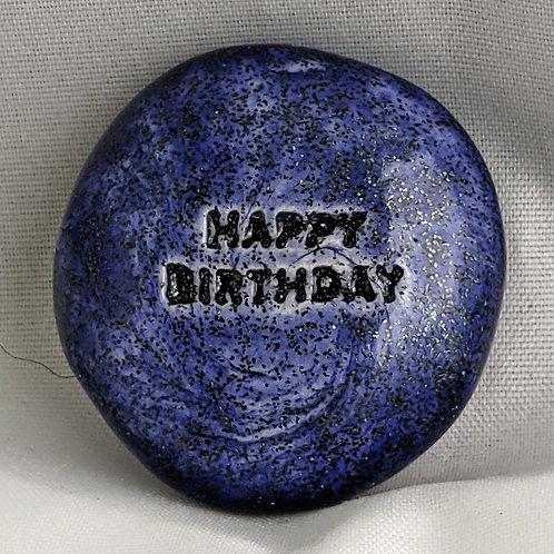 HAPPY BIRTHDAY Pocket Stone - Sapphire Shimmer