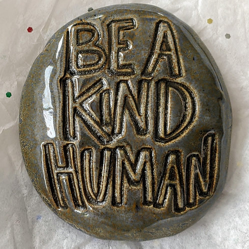 BE A KIND HUMAN Pocket Stone - Antique Blue