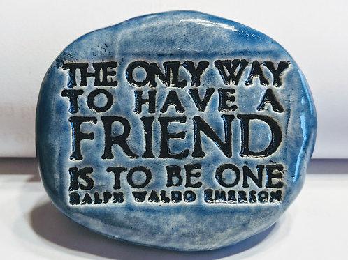 EMERSON FRIEND QUOTE Pocket Stone - Sapphire Blue