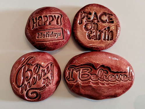 CHRISTMAS Pocket Stones - Be Merry - Peace on Earth - Happy Holidays - I Believe