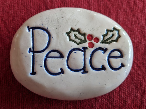 PEACE w/HOLLY Pocket Stone - Hand-Painted