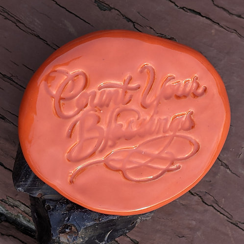 COUNT YOUR BLESSINGS Pocket Stone - Carrot Orange