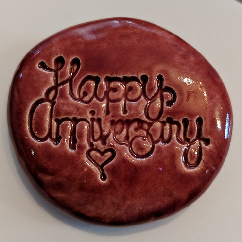 HAPPY ANNIVERSARY Pocket Stone - Cherry Red