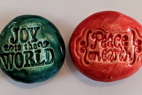 CHRISTMAS  Magnets - Joy to the World & Peace on Earth