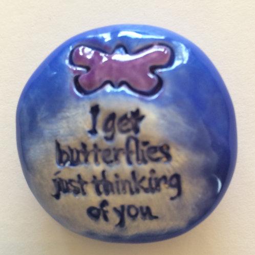 I GET BUTTERFLIES Pocket Stone - Medium Blue