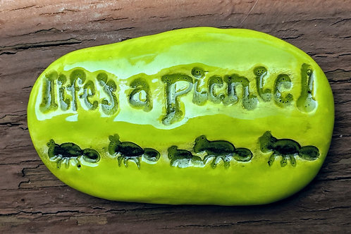 LIFE'S A PICNIC! - Pocket Stone - Granny Smith Green