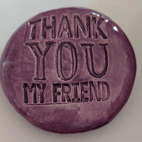 THANK YOU MY FRIEND Pocket Stone - Amethyst Purple
