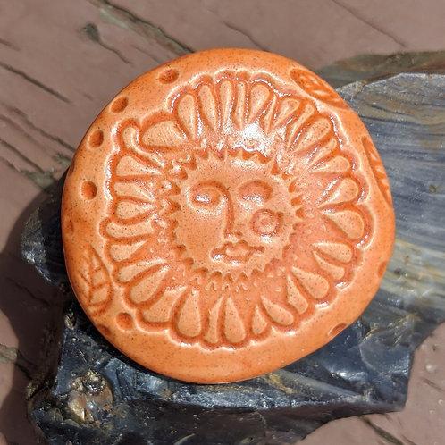 SUNFLOWER W/ FACE Pocket Stone - Tuscan Sun