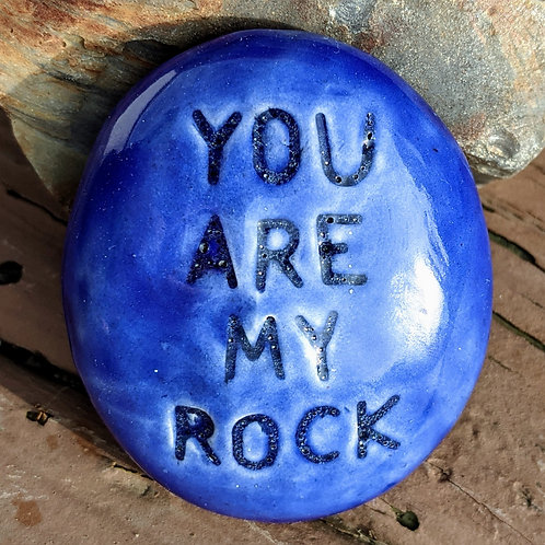 YOU ARE MY ROCK Pocket Stone - Vivid Blue