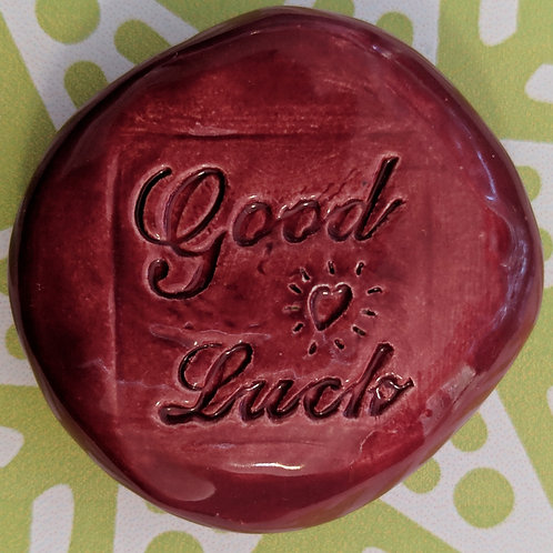 GOOD LUCK Pocket Stone - Cherry Red