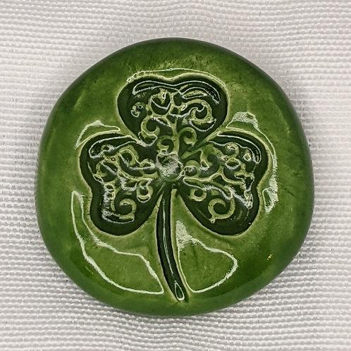 CELTIC SHAMROCK Pocket Stone - Emerald Green