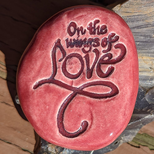 ON THE WINGS OF LOVE Pocket Stone - Raspberry Red