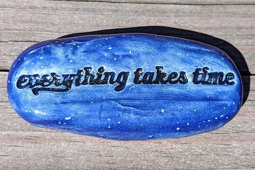 EVERYTHING TAKES TIME Pocket Stone - Blue Enamelware