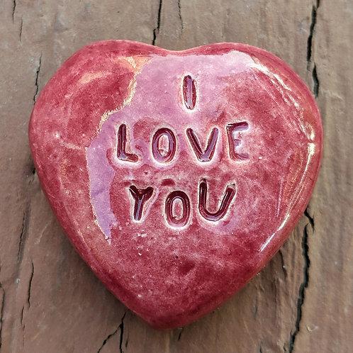 I LOVE YOU Heart Stone - Burgundy