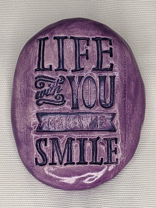 LIFE WITH YOU MAKES ME SMILE Pocket Stone - Amethyst Purple