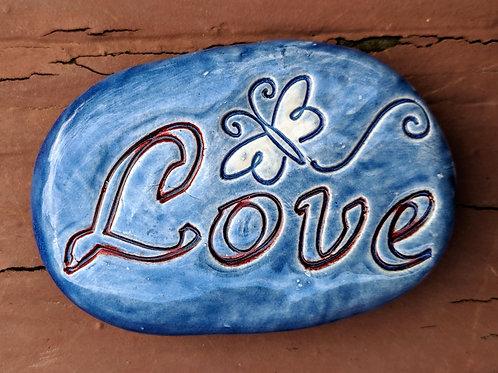 LOVE w/ BUTTERFLY Pocket Stone - Sapphire Blue