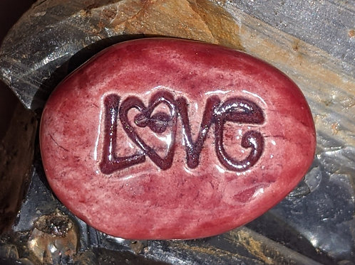 LOVE w/ HEART Pocket Stone - Raspberry Red