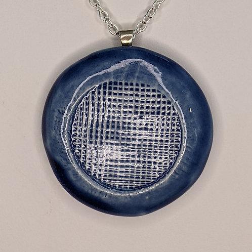 WAFFLE PATTERN Pendant/Necklace - Sapphire Blue
