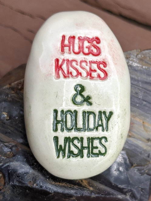 HUGS KISSES & HOLIDAY WISHES Pocket Stone - Red + Green