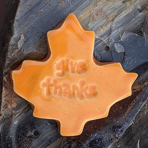 GIVE THANKS - Leaf-shaped Pocket Stone - Pumpkin Orange
