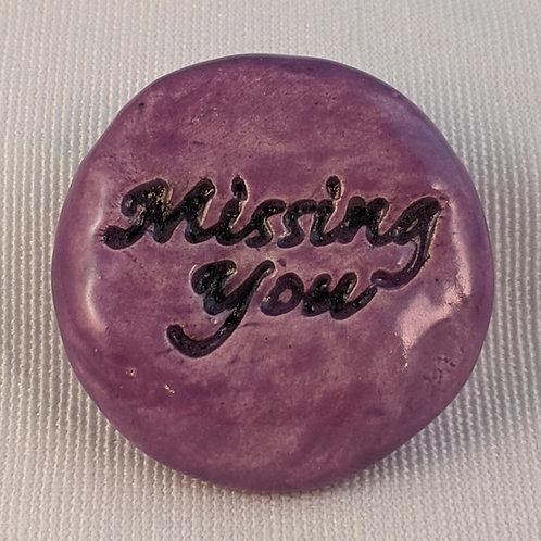 MISSING YOU Pocket Stone - Amethyst Purple