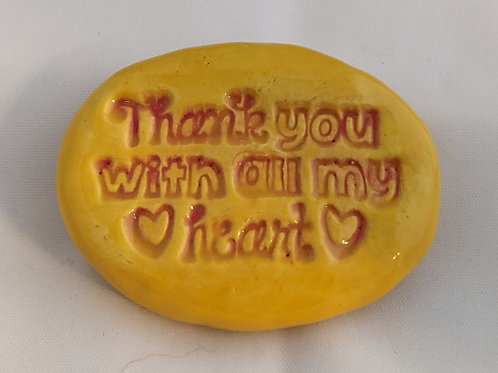 THANK YOU WITH ALL MY HEART Pocket Stone - Sun Yellow