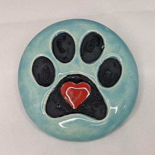 PAW PRINT w/HEART Pocket Stone - Aquamarine