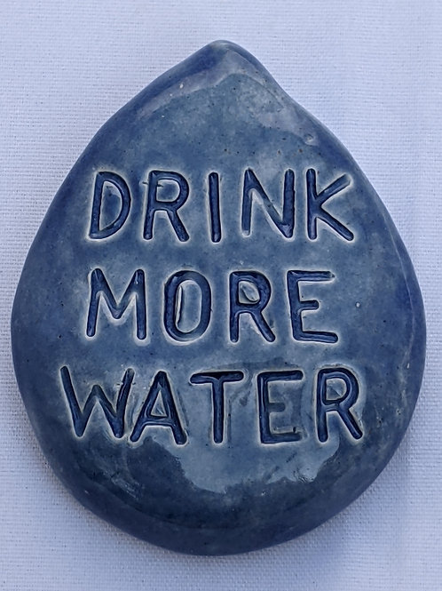 DRINK MORE WATER Word Tile - Sapphire Blue