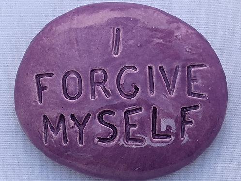 I FORGIVE MYSELF Pocket Stone - Amethyst Purple