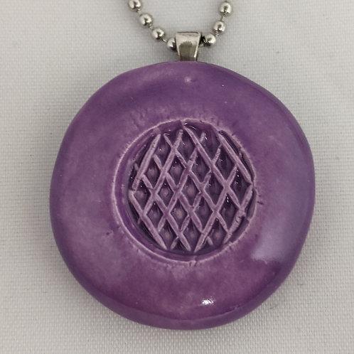 UNIQUE WAFFLE Pendant / Necklace - Amethyst Purple
