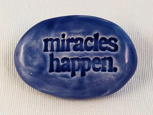 MIRACLES HAPPEN Pocket Stone - Vivid Blue