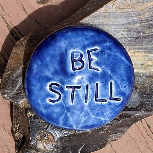 BE STILL Pocket Stone - Midnight Blue