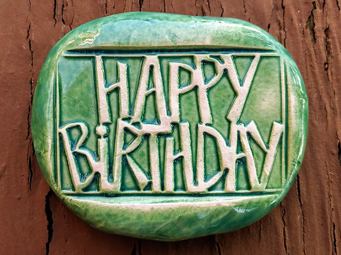 HAPPY BIRTHDAY Pocket Stone - Aquamarine