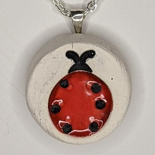 LADYBUG Pendant/Necklace - Scarlet Red on White